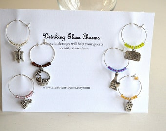 Wine Charms Set of Six  Wine Lovers