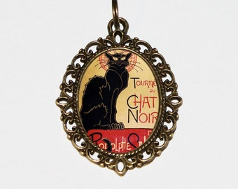 Chat Noir Necklace, Black Cat Jewelry, Theophile Steinlen, Bronze Oval Pendant