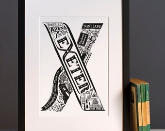 Exeter print or greeting card        - Graduation gift - University town - Typographic art - Exeter poster - Exeter artwork