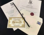 Hogwarts Acceptance Letter and Wizard Wand Optional Wax Seal  - Personalized Name and Address