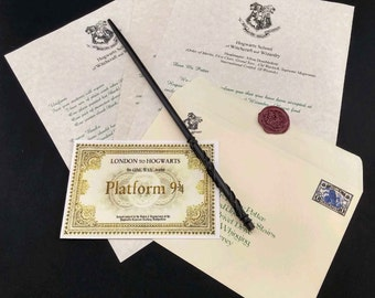 Hogwarts Acceptance Letter and Wizard Wand Optional Faux Wax Seal  - Personalized Name and Address