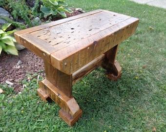 Reclaimed Barn wood Trestle style Bench with tiger eye gemstone inlay