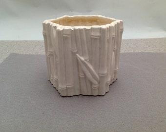 Vintage Bamboo Embossed White 6 Sided Ceramic Planter