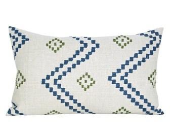 Taj lumbar pillow cover in Indigo/Green