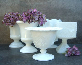 5 Milk Glass Footed Planters, Vintage Vases, Minimalist Neutral Decor, Instant Collection, Urn Napco Grapes Cherries Lace, Candy Bar, Spoons