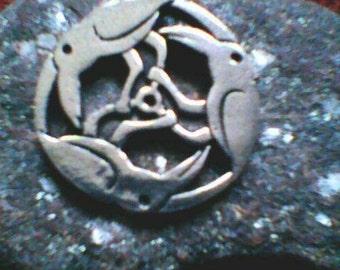 Circle Of Raven Pendant necklace - shaman druid witchcraft wicca corvid pagan ravens goth pendants