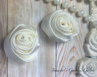 "Set of TWO Ivory 2"" Satin Rosette Flower Heads, Rolled Roses Wholesale Mini Rosettes for Baby Headbands"