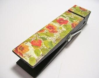 Clothespin Clip Jumbo Decoupaged Orange Flowers