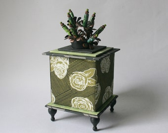 Handmade Cache Box in Shades of Green for Home or Office Decor