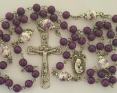 Rosary, Our Lady & Baby Jesus, Purple Mountain Jade, Orchid Beads, Purple, Strong, Stainless Steel, Traditional, Handcrafted Gemstone Rosary