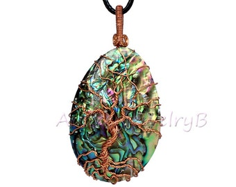 Hand-woven Wire Wrapped Tree of Life Pendant  Copper Pendant Abalone shell Pendant Necklace christmas gift Life tree necklace