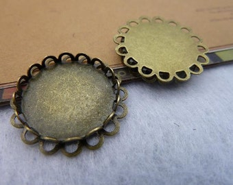10pcsinner 20mm Antique Bronze Lace Round Cameo Cabochon Base Setting Charm Pendant