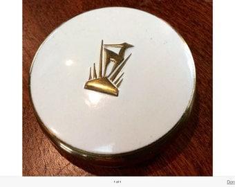 DERMETICS White Goldtone Mirror Compact Gazell Logo Seattle - New York