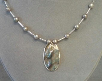 Abalone and Silvery Grey Freshwater Pearl Necklace