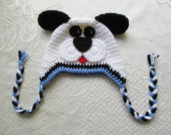 White, Black and Periwinkle Blue Puppy Crocheted Hat - Photo Prop - Available in Any Size or Color Combination