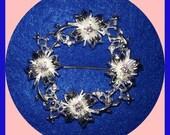 BROOCH Vintage Amethyst Embellished Floral Silver Pin