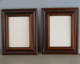 Pair of Rectangular Dark Brown Wood Picture Frames with Masonite Gesso Boards Cut to Fit
