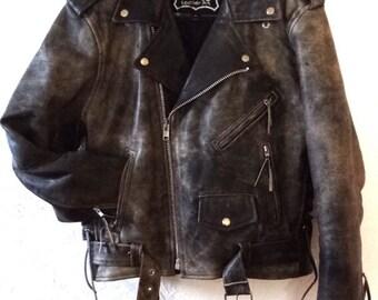 Distressed Black Unisex Moto Biker Leather Jacket