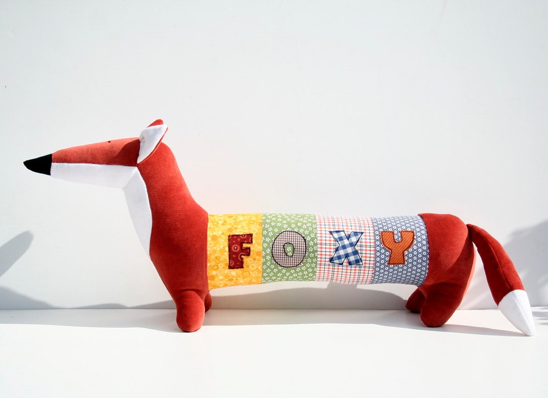 Personalized Foxy, Rusty Fox, Long Plush Fox stuffed animal, plush toy, personalized stuffed animal