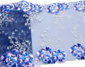 Blue Silver Lace Trim, Blue Lilac Floral Luxury Lace, Tablerunner, Extra Wide Lace Trim, Holiday Decor, Flamenco, Festive Trim