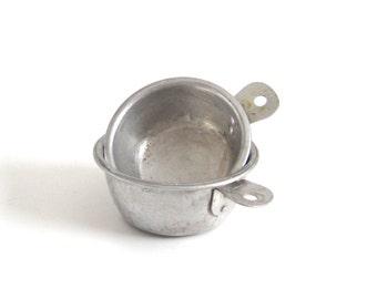 Aluminum Measuring Cups 1/3 1/2 Cup Food Photography Prop Old Metal Measuring Cups Third Half