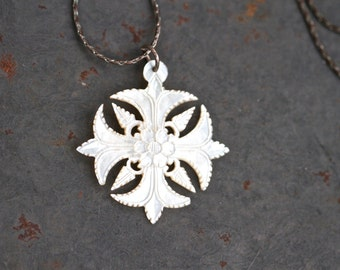 Carved Mother of Pearl Necklace - Antique White Snowflake Pendant on Dark Silver Chain