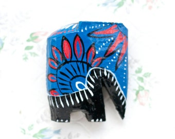 Stylized Elephant Sculpture in Blue and Red - Small Ornament - Boho Home Decor