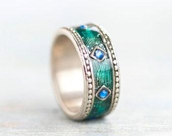 Boho Ring Band - Green Enamel and Blue Diamonds - Size 7.5