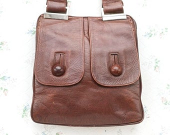 Brown Leather Satchel - 70s Handbag - seventies shoulder Bag