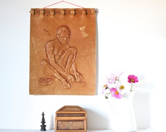 African Wall Hanging - Embossed Leather Male figure Sculpture