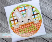 Peeking Bunny Boy Circle Easter Applique Design Machine Embroidery INSTANT DOWNLOAD