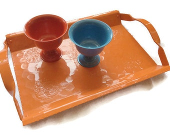 Orange serving tray Vintage aluminum vegetables Re-cycled by BMC Vintage Design Studio FOOD SAFE