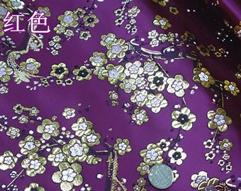 75cm width chinese vintage folk golden stamped plum blossom flower tapestry datin silk brocade fabric by 1/2yard cosplay diy stage