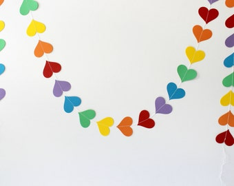 Rainbow Vertical Heart Garland, Party Banner, Rainbow Baby Shower, Paper Garland, Photo Prop