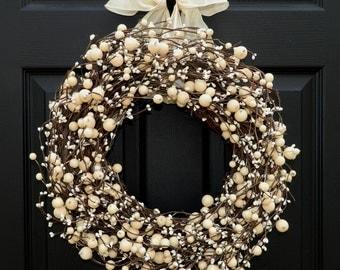 Everyday Wreath -  Berry Wreath - All Season Wreath - Wreath - Choose Bow and Size