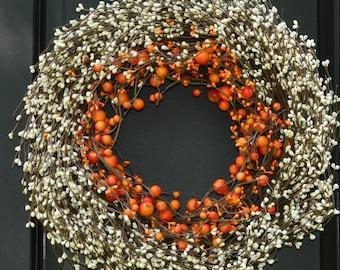 Fall Wreath - Thanksgiving Wreath - Autumn Door Decor