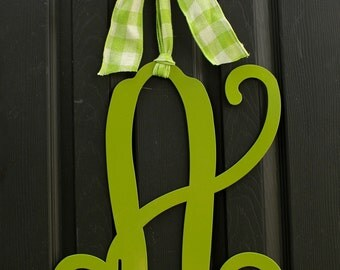 Initial Door Monogram Wreath - Door Wreath - Initial Monogram - Metal Monogram - Choose letter and bow color