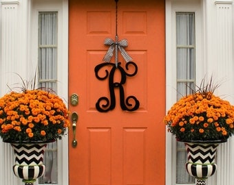 Metal Monogram Wreath Alternative - Door Wreath - Large Monogram Wreath