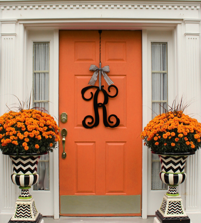 Metal Monogram Wreath Alternative Door By Everbloomingoriginal