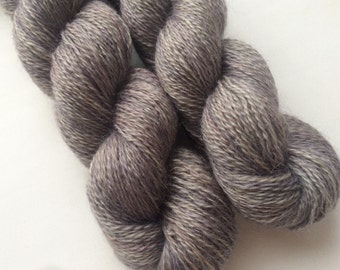 Silver mix  - Pure goat down, mohair, super fine, handdyed yarn 50g.
