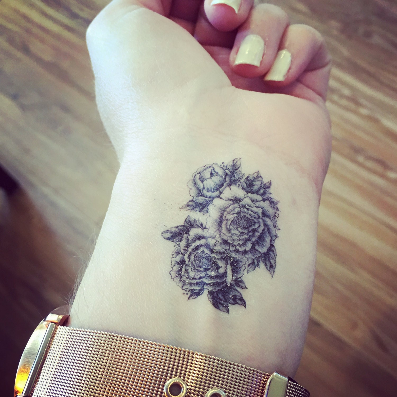 Temporary tattoo floral peony tattoo floral tattoo for Floral temporary tattoos