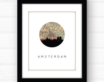 Amsterdam print | Amsterdam map | Amsterdam art | Amsterdam poster | Amsterdam skyline print | the Netherlands art | travel prints