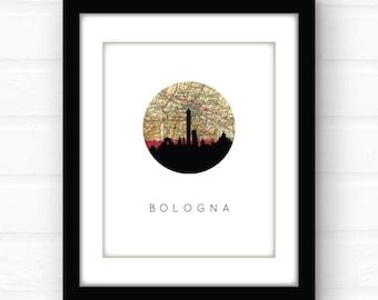 Bologna Italy map print   Italy print   Italy poster   Italy wall art   skyline art print   travel print   Bologna wall art   travel poster