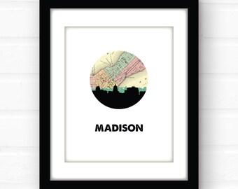 Madison, WI map art | Madison, Wisconsin art | Madison skyline print | Wisconsin home decor | city skyline prints | college dorm decor