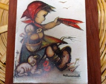 Hummel picture little girl and lamb small size wood hanging wooden plaque art Germany nursery wall decor child kids children