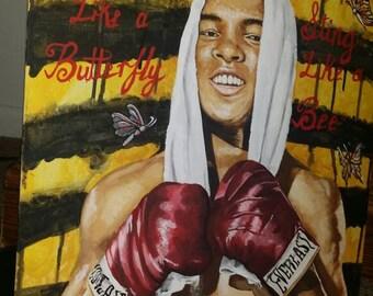 Muhammad Ali painting on canvas board