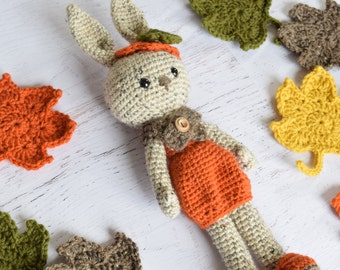 Amigurumi Crochet PATTERN - Patricia Pumpkin - Bunny Doll Stuffed toy crochet animal pattern