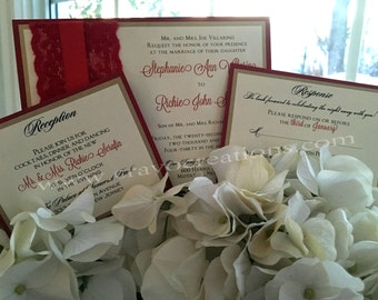 Red, Gold & Ivory Layered Invitation with Lace and Ribbon Embellishment
