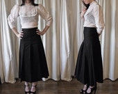 90s Agnès b black pleated higwaisted midi skirt 36