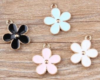 """6pcs-1"""" double side flower charm-enamel Charm-you pick the color"""